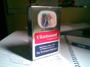 vitamount-vitamin for women..my supplement for the exam.now,i'm not taking pot of coffee anymore(sket2 ade la..he2)
